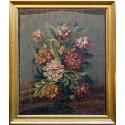 Bouquet de pavots sur fond marron