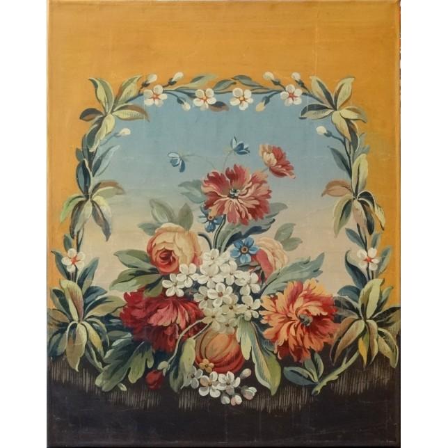Décor floral sur fond terre de Sienne