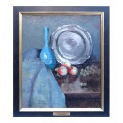 Vase bleu et pommes