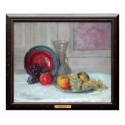 Fruits et assiette mauve et bleue